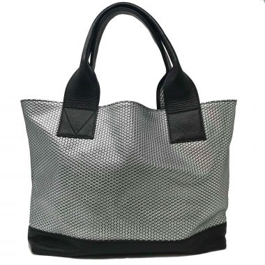 borsa spalla in pelle handmade leather bag geo silver