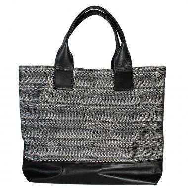 borsa a sacco farida tote bag knit black white