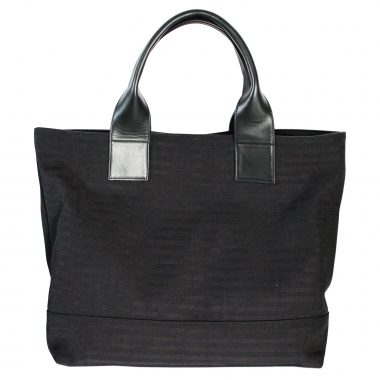 borsa a spalla pelle tessuto tote bag farida total black canvas