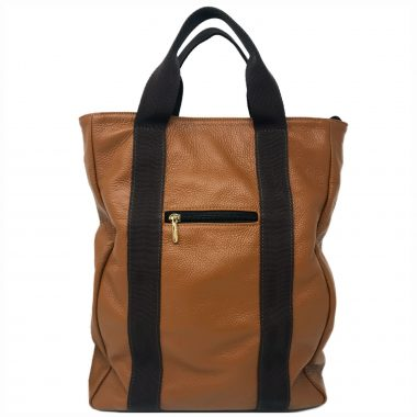 zaino in pelle leather backpack v23 cognac
