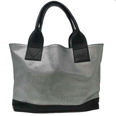 borsa spalla in pelle handmade leather bag geo silver