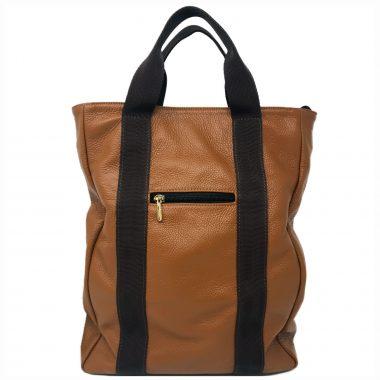 zaino in pelle leather backpack v23 cognac